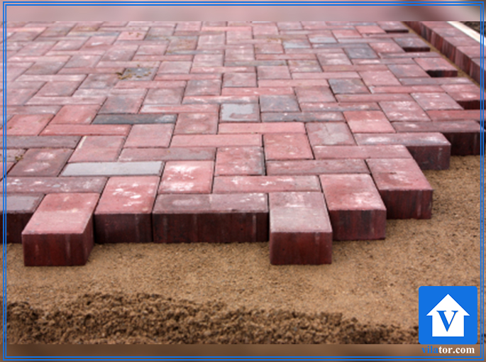 سنگ فرش حیاط آجری ویلاطور