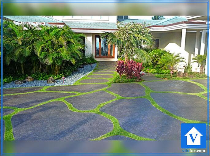 سنگ فرش حیاط لوح رنگی ویلاطور