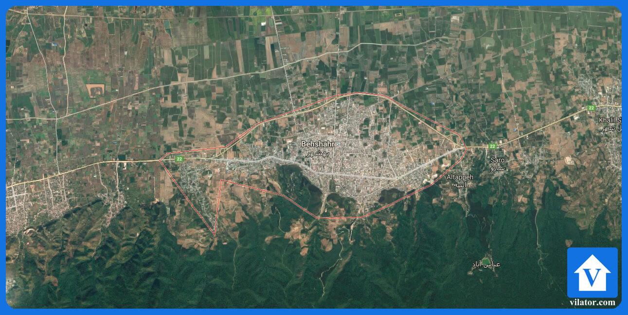 موقعیت جغرافیایی بهشهر ویلاطور