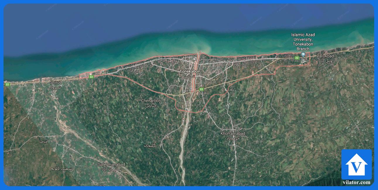 موقعیت جغرافیایی تنکابن ویلاطور