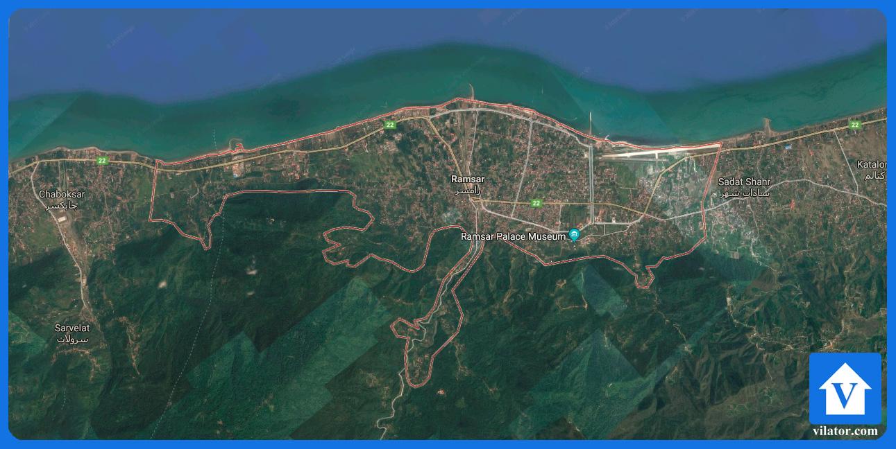 موقعیت جغرافیایی رامسر ویلاطور