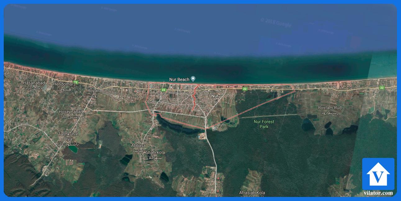 موقعیت جغرافیایی شهر نور ویلاطور