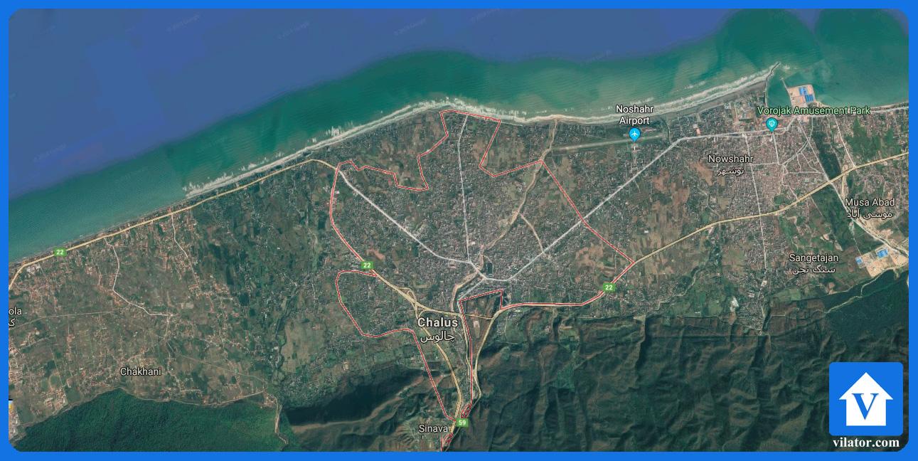 موقعیت جغرافیایی چالوس ویلاطور