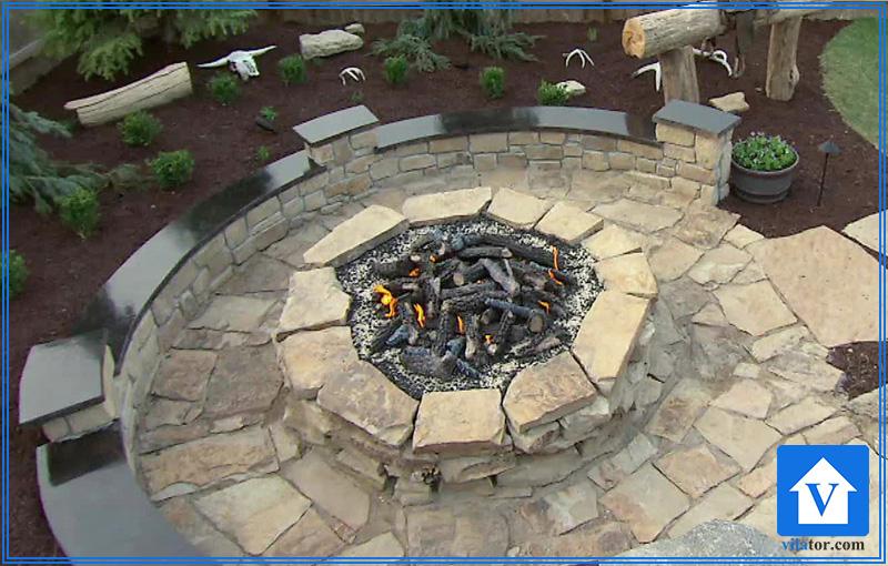 گودال آتش بخاری چوبی محوطه حیاط ویلاطور