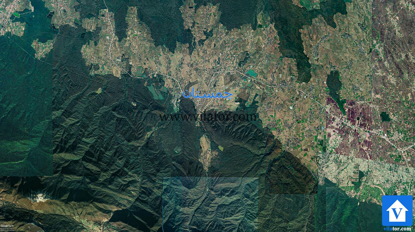 نقشه-هوایی-چمستان-برای-بررسی-منطقه-و-خرید-ویلا-در-چمستان