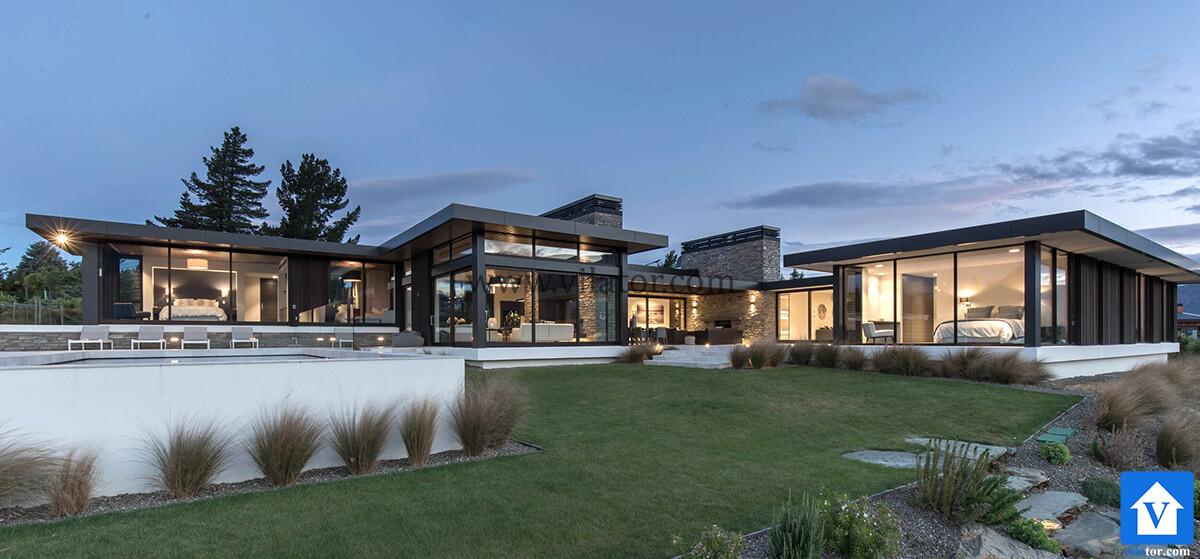 طراحی ویلای مدرن در نیوزلند واناکا دریاچه بیکون پوینت (1)